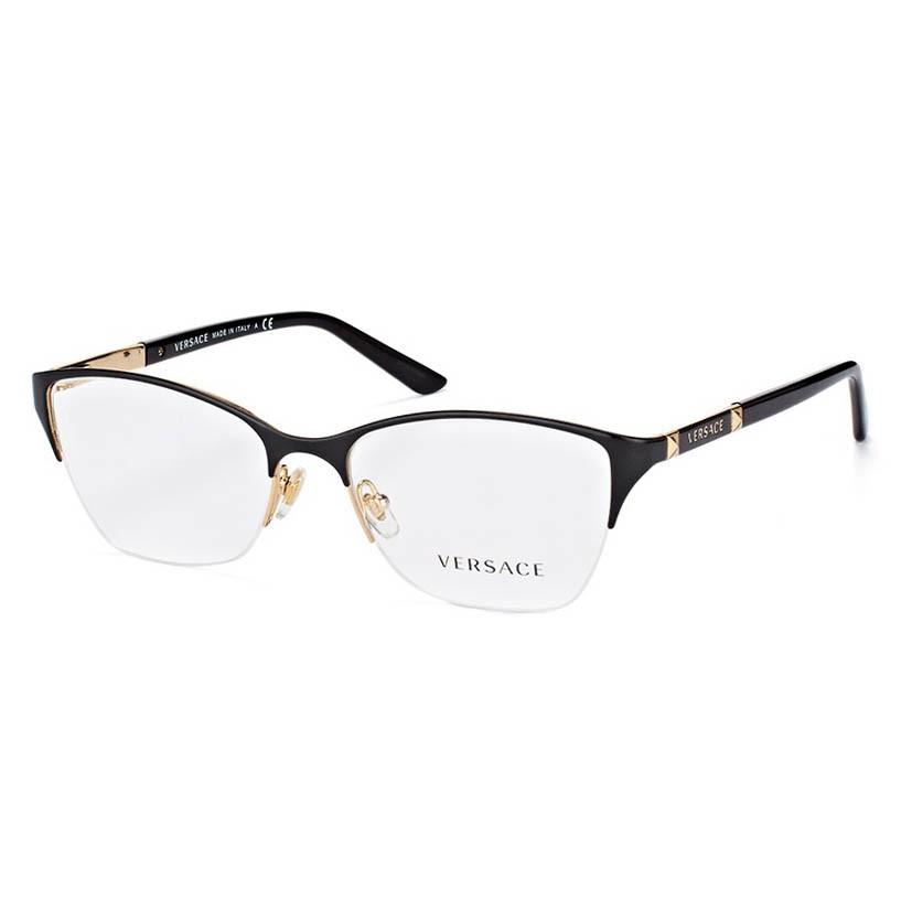 Óculos de Grau Versace VE1218 Preto com Dourado Brilho Metal