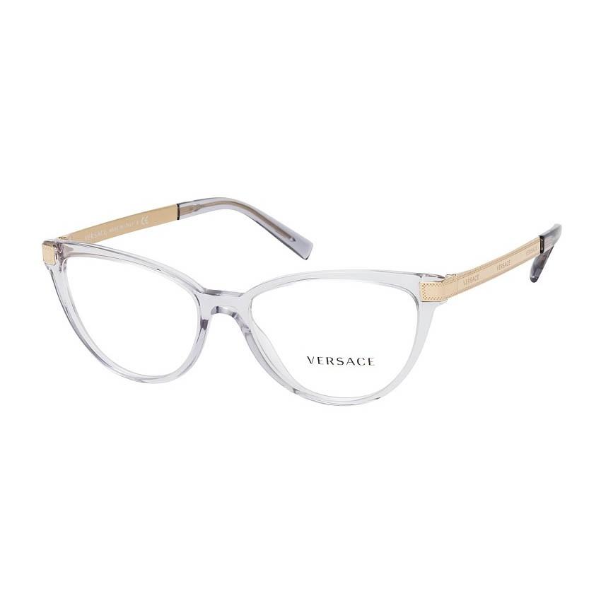 Óculos de Grau Versace VE3271 Gatinho Transparente e Dourado
