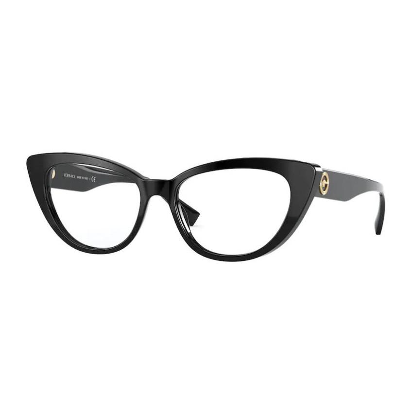 Óculos de Grau Versace VE3286 Preto Brilho Gatinho