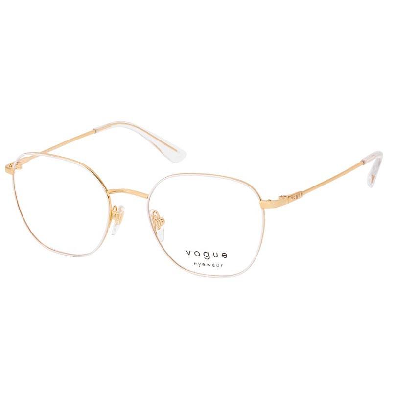 Óculos de Grau Vogue VO4178 Metal Branco com Dourado Brilho