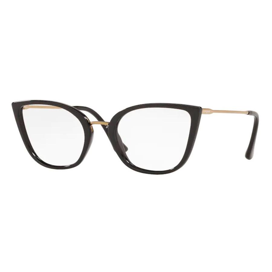Óculos de Grau Vogue VO5299L Preto Brilho Gatinho Tamanho 54