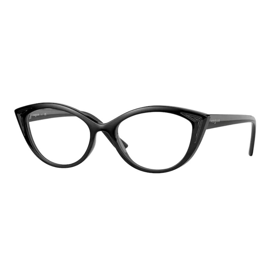 Óculos de Grau Vogue VO5375 Preto Brilho Gatinho Tamanho 53