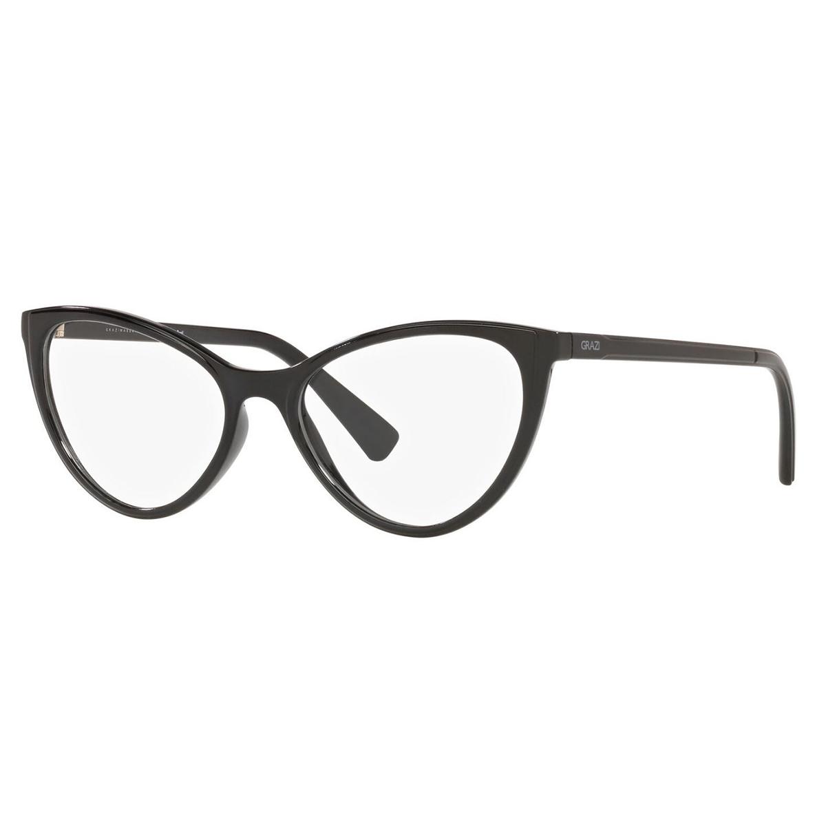 Óculos de Grazi GZ3073 Gatinho Preto Brilho Tamanho 52