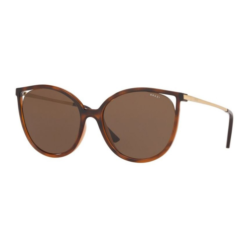 Óculos de Sol Feminino Grazi GZ4036 Marrom Havana Brilho Grande