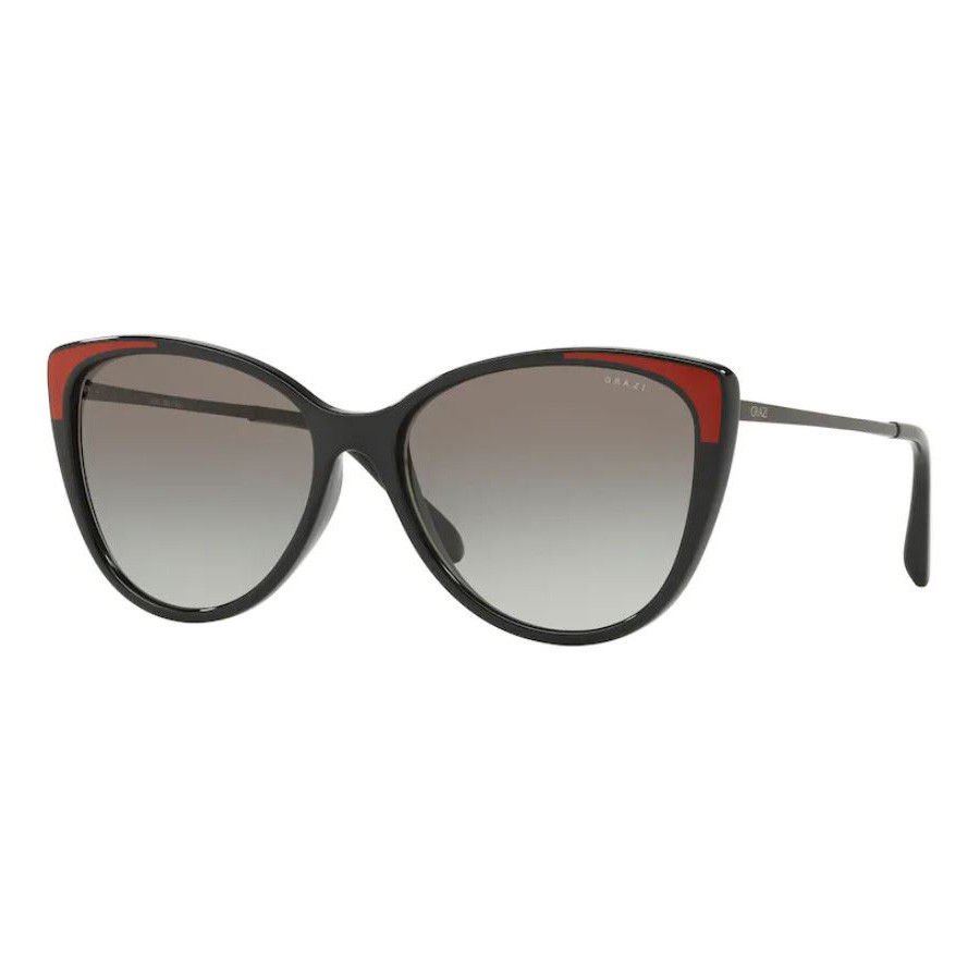 Óculos de Sol Feminino Grazi Preto Brilho com Vermelho