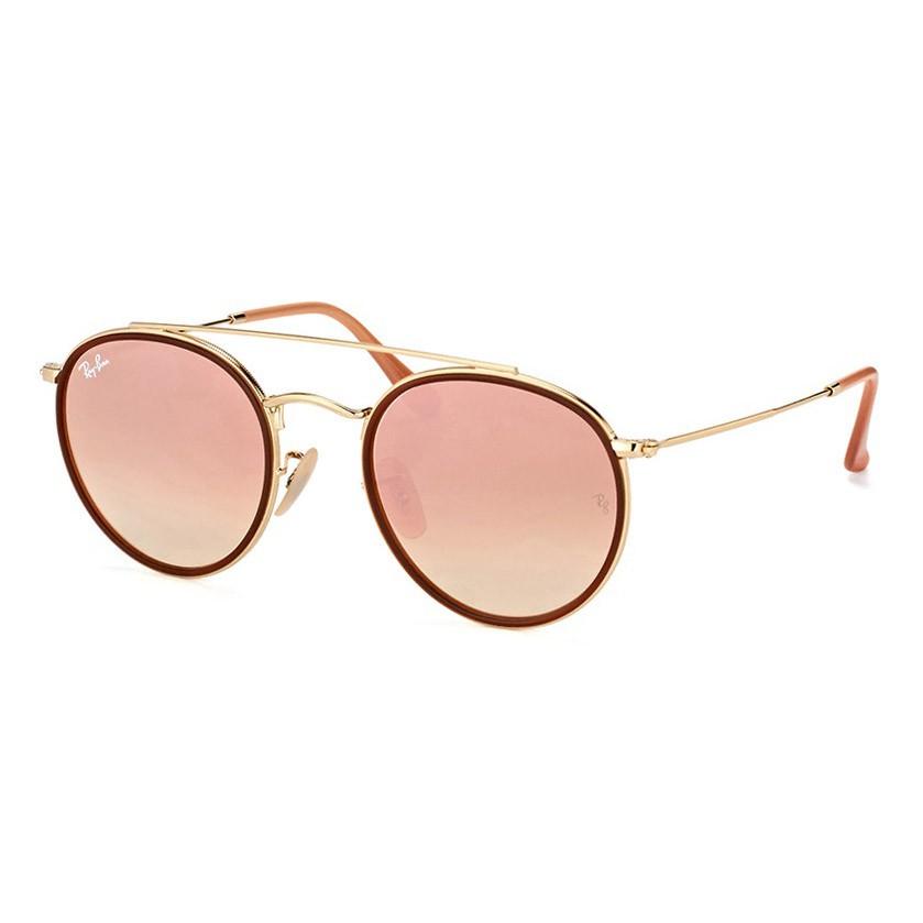 Óculos de Sol Feminino Redondo Ray Ban RB3647NL Dourado Espelhado