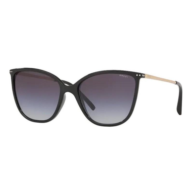 Óculos de Sol Grazi Gatinho GZ4033B Preto Brilho Hastes Douradas