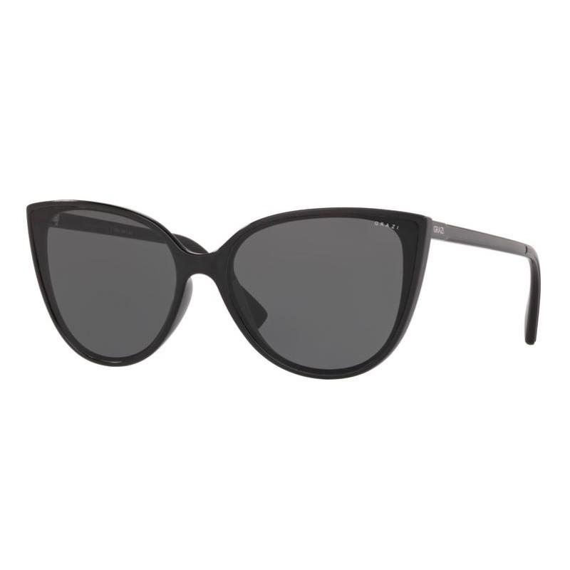 Óculos de Sol Grazi Gatinho GZ4035 Preto Brilho Lentes Cinza