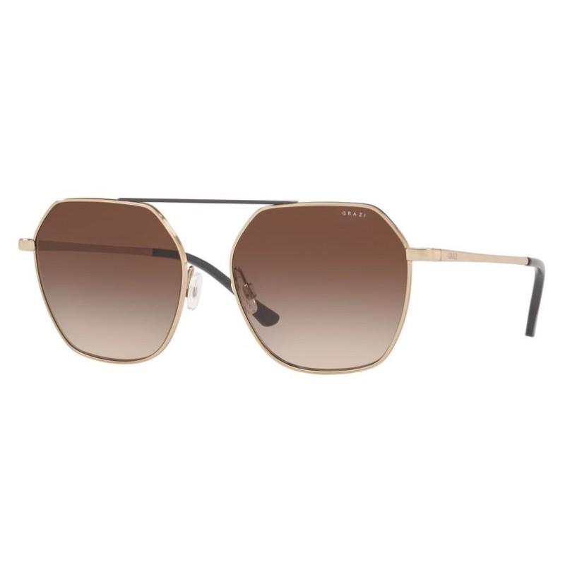 Óculos de Sol Grazi GZ2005 Metal Dourado Brilho Hexagonal