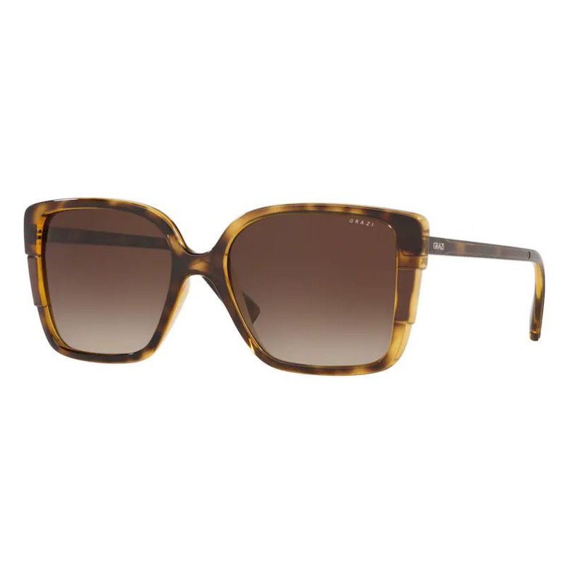 Óculos de Sol Grazi GZ4034 Quadrado Marrom Havana Brilho