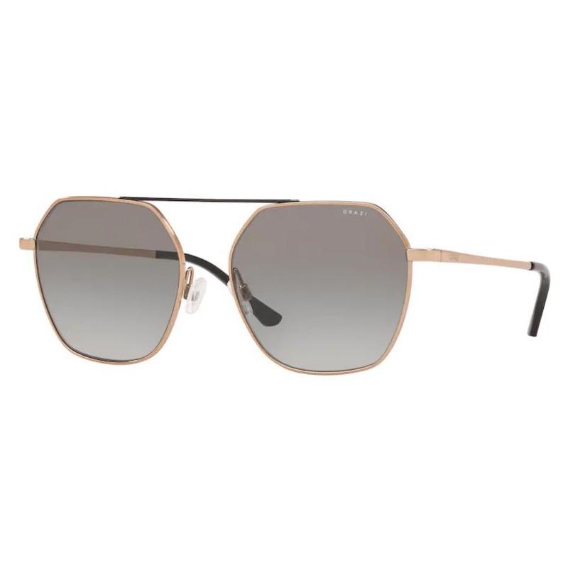 Óculos de Sol Grazi Hexagonal GZ2005 Bronze Brilho Tamanho 57