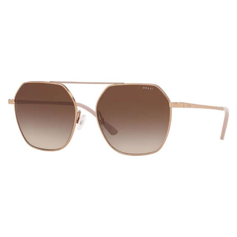 Óculos de Sol Grazi Hexagonal GZ2005 Dourado Rose Brilho