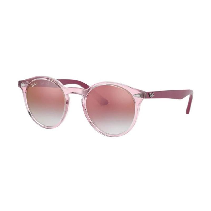 Óculos de Sol Infantil Ray Ban RJ9064S Redondo Transparente Rosa