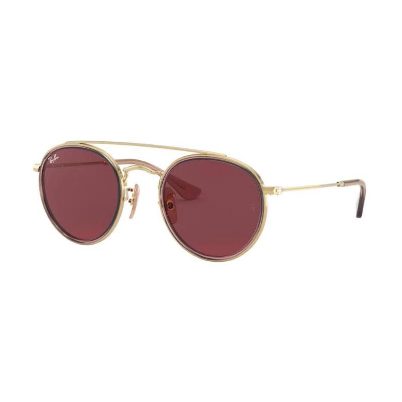 Óculos de Sol Infantil RayBan RJ9647S Redondo Dourado e Rosa
