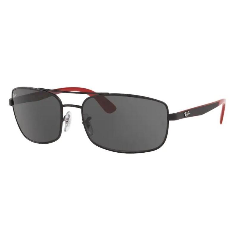 Óculos de Sol Masculino RayBan RB3657L Preto Fosco com Vermelho