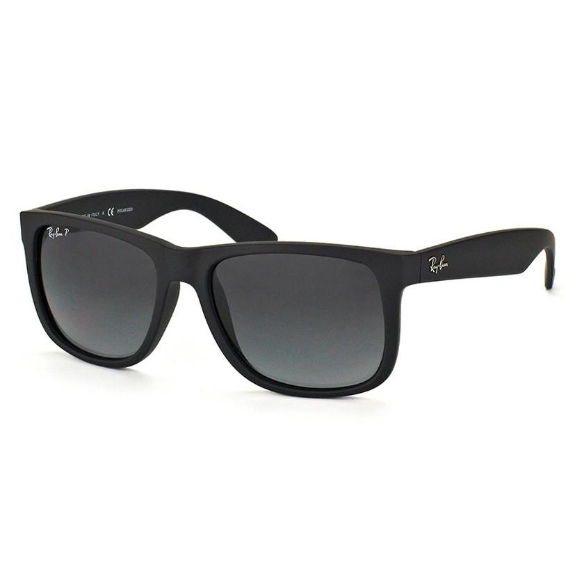 Óculos de Sol Polarizado Ray Ban Justin RB4165L Preto Fosco Grande
