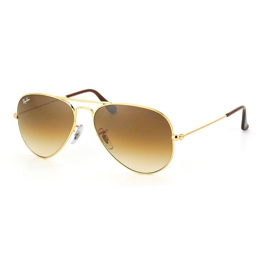 Óculos de Sol Ray Ban Aviador RB3025 Dourado Brilho Marrom Degradê