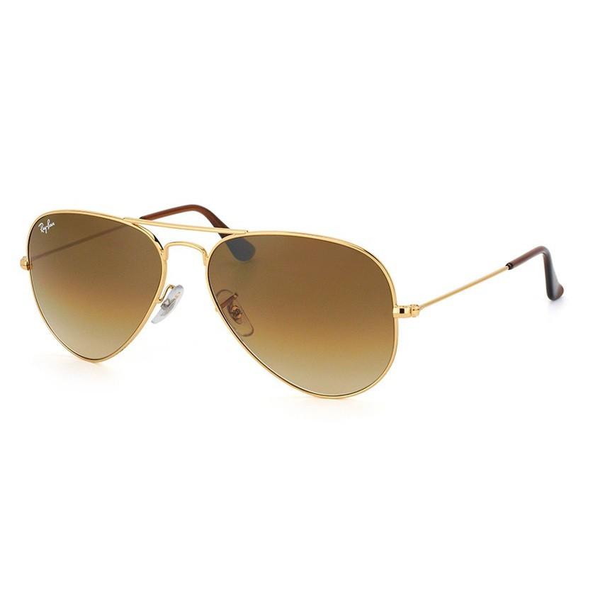 Óculos de Sol Ray Ban Aviador RB3025 Dourado e Marrom Tamanho 55