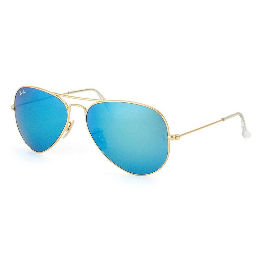 Óculos de Sol Ray Ban Aviador RB3025 Dourado Fosco Azul Espelhado