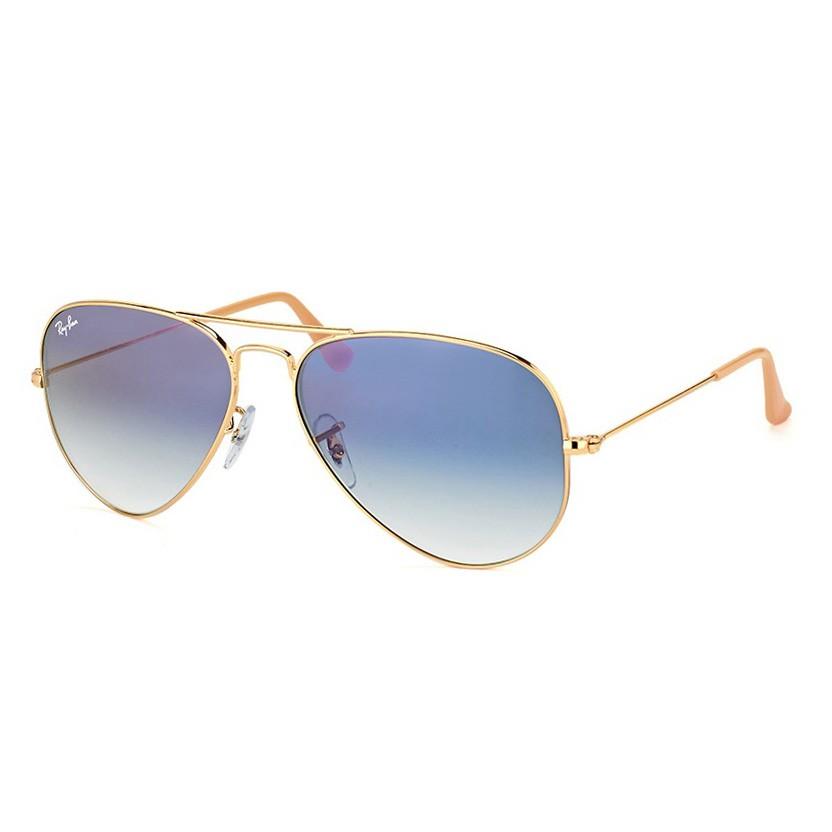 Óculos de Sol Ray Ban Aviador RB3025L Dourado com Azul Pequeno