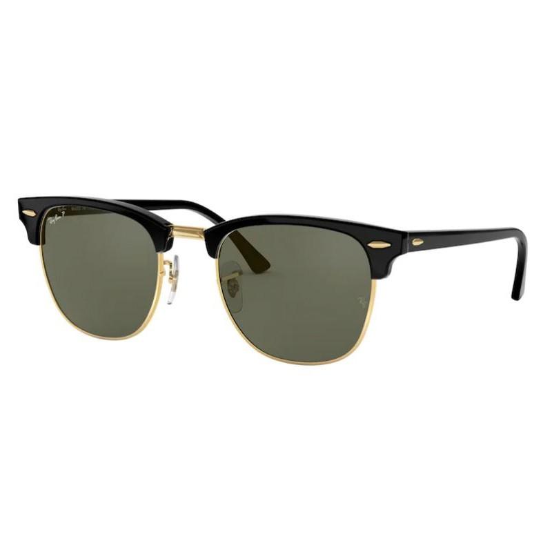 Óculos de Sol Ray Ban Clubmaster Polarizado RB3016 Preto e Dourado