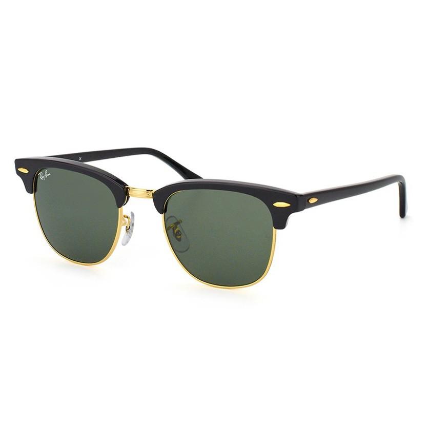 Óculos de Sol Ray Ban Clubmaster RB3016L Preto Brilho e Dourado