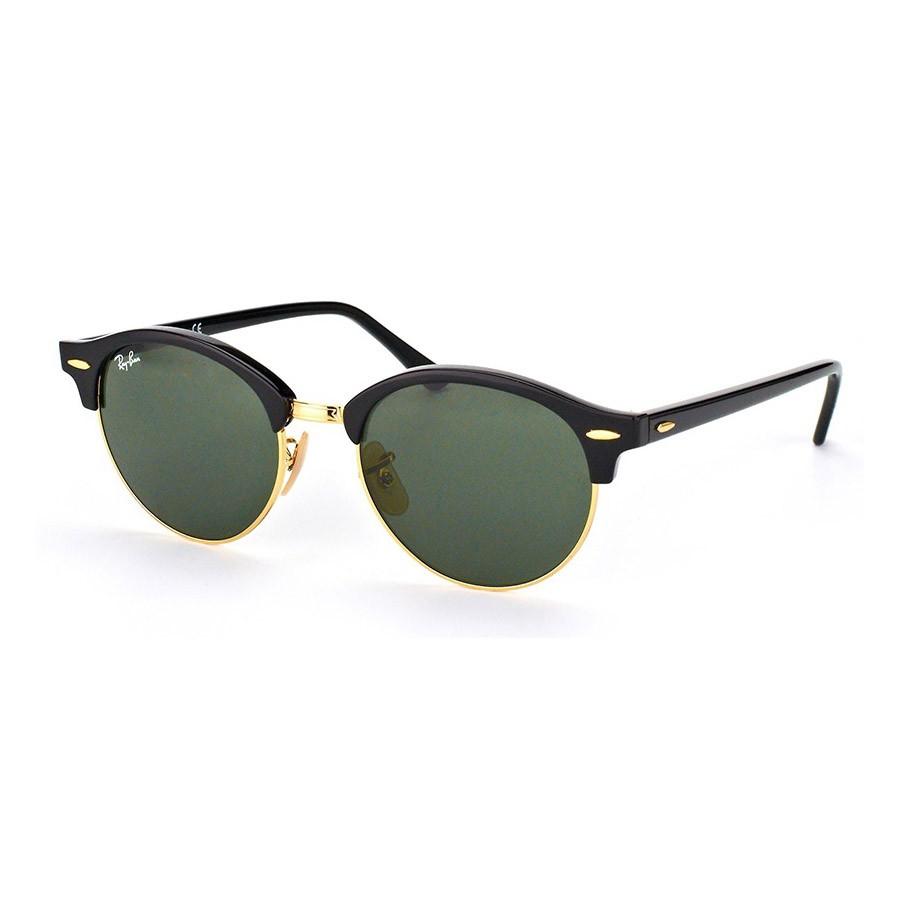 Óculos de Sol Ray Ban Clubround RB4246 Preto Brilho e Dourado