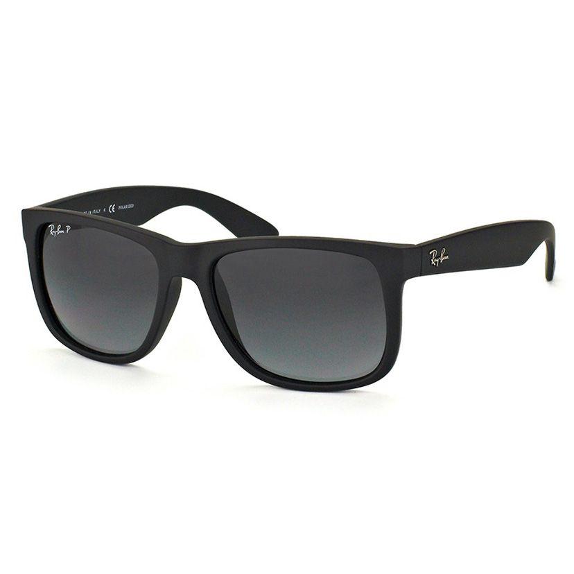 Óculos de Sol Ray Ban Justin RB4165L Polarizado Degradê Preto Fosco