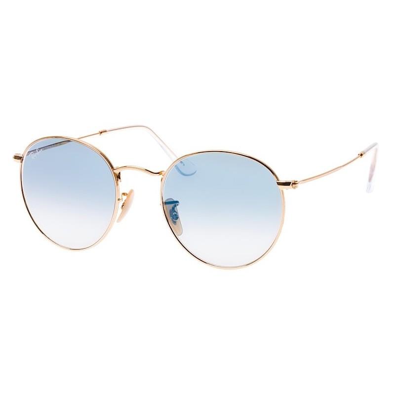 Óculos de Sol Ray Ban RB3447NL Round Metal Dourado Brilho e Azul