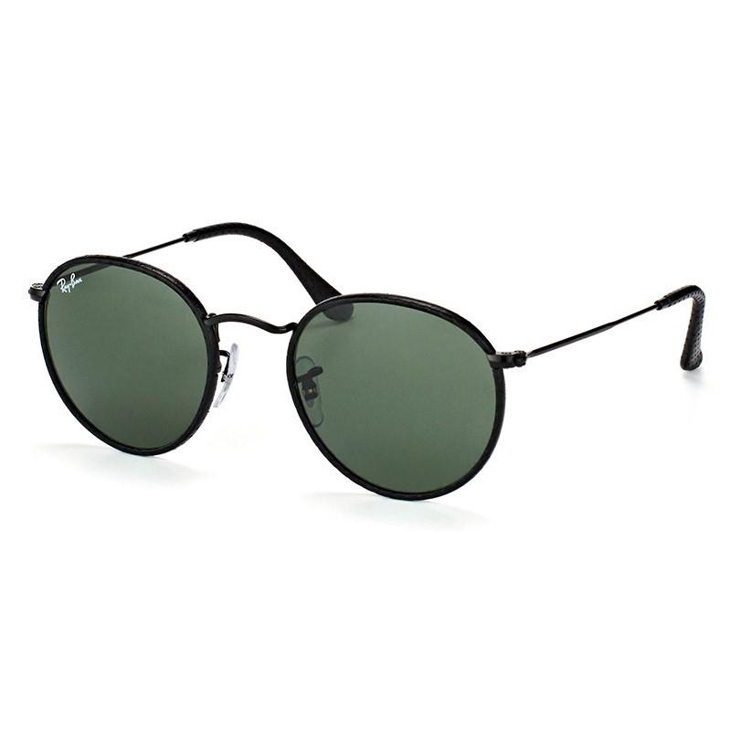 Óculos de Sol Ray Ban RB3475Q Round Craft Couro Preto Pequeno