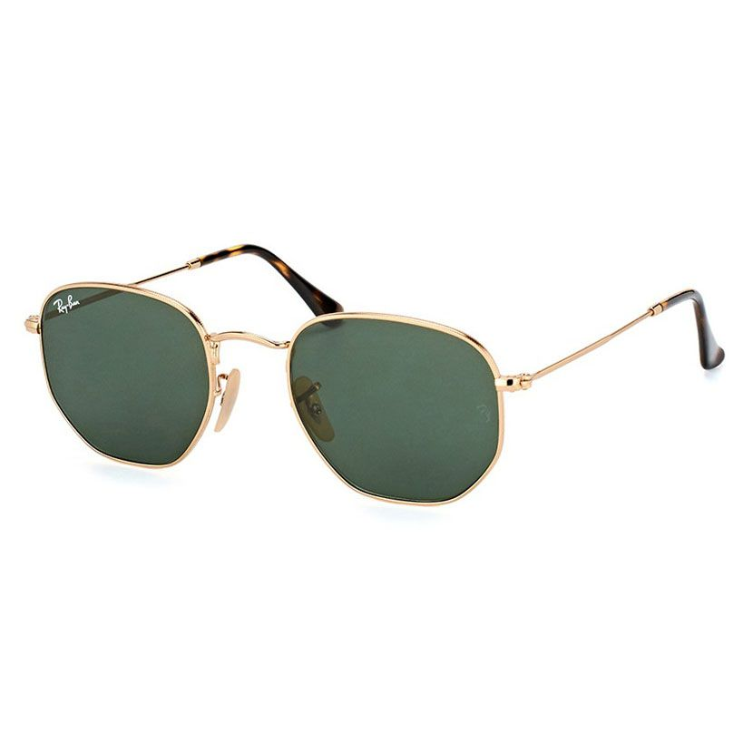 Óculos de Sol Ray Ban RB3548NL Hexagonal Metal Dourado Brilho