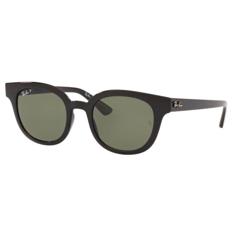 Óculos de Sol Ray Ban RB4324L Preto Brilho Polarizado Redondo