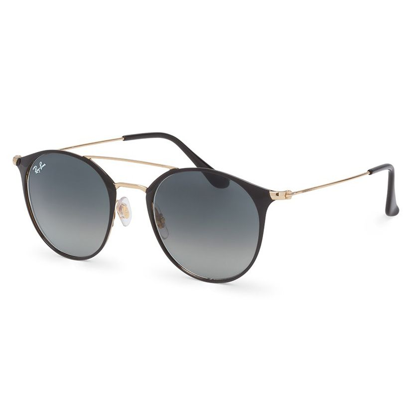 Óculos de Sol Ray Ban Redondo RB3546 Metal Preto e Dourado Brilho