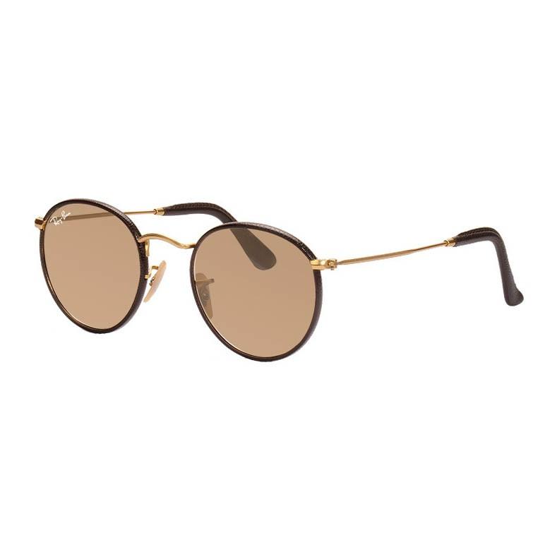 Óculos de Sol Ray Ban Round Couro RB3475Q Marrom com Dourado