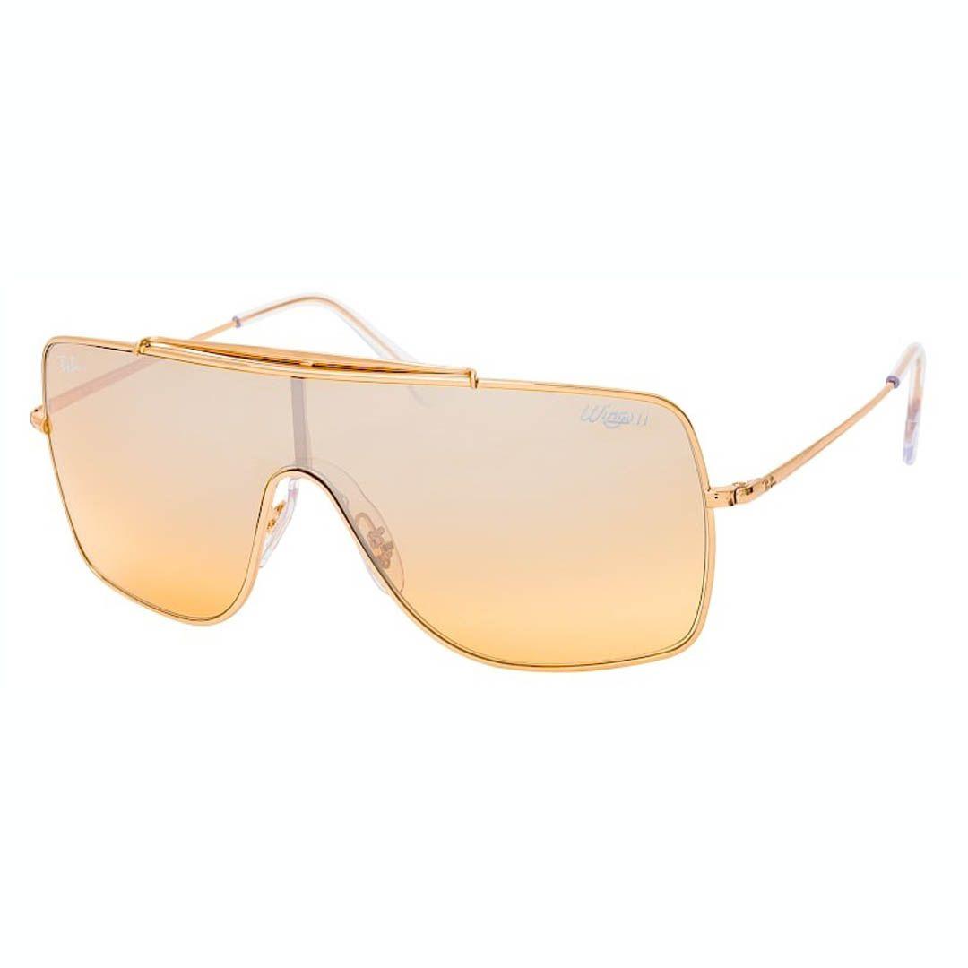 Óculos de Sol Ray Ban Wings II RB3697 Quadrado Dourado Brilho