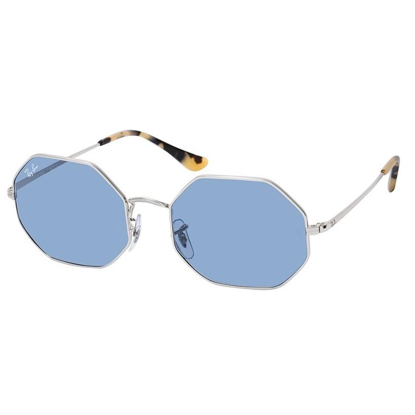 Óculos de Sol RayBan Octagonal RB1972 Prata Brilho e Azul Espelhado