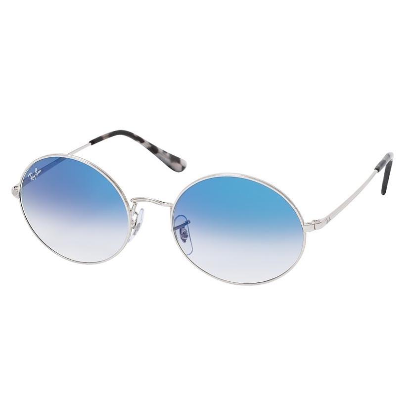 Óculos de Sol RayBan Oval RB1970 Metal Prata Brilho com Azul