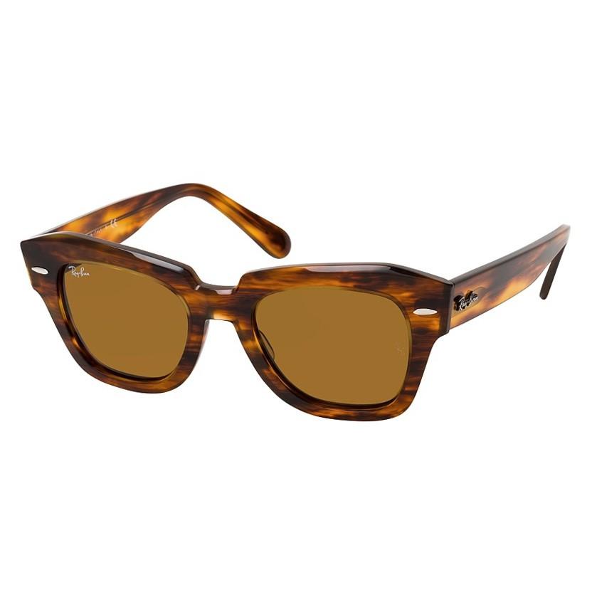 Óculos de Sol RayBan RB2186 State Street Quadrado Marrom Havana