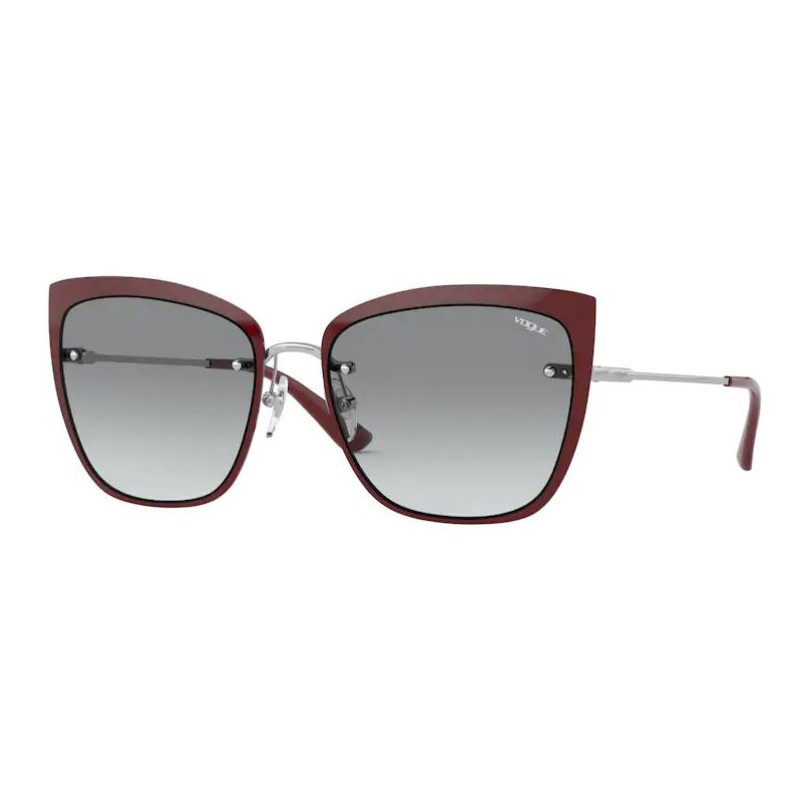 Óculos de Sol Vogue Gatinho VO4158S Metal Prata com Bordô