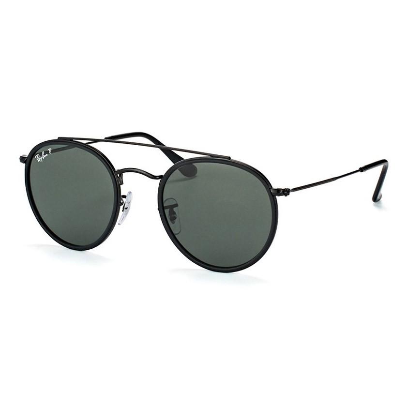Óculos Solar Ray Ban RB3647N Redondo Preto Brilho Polarizado