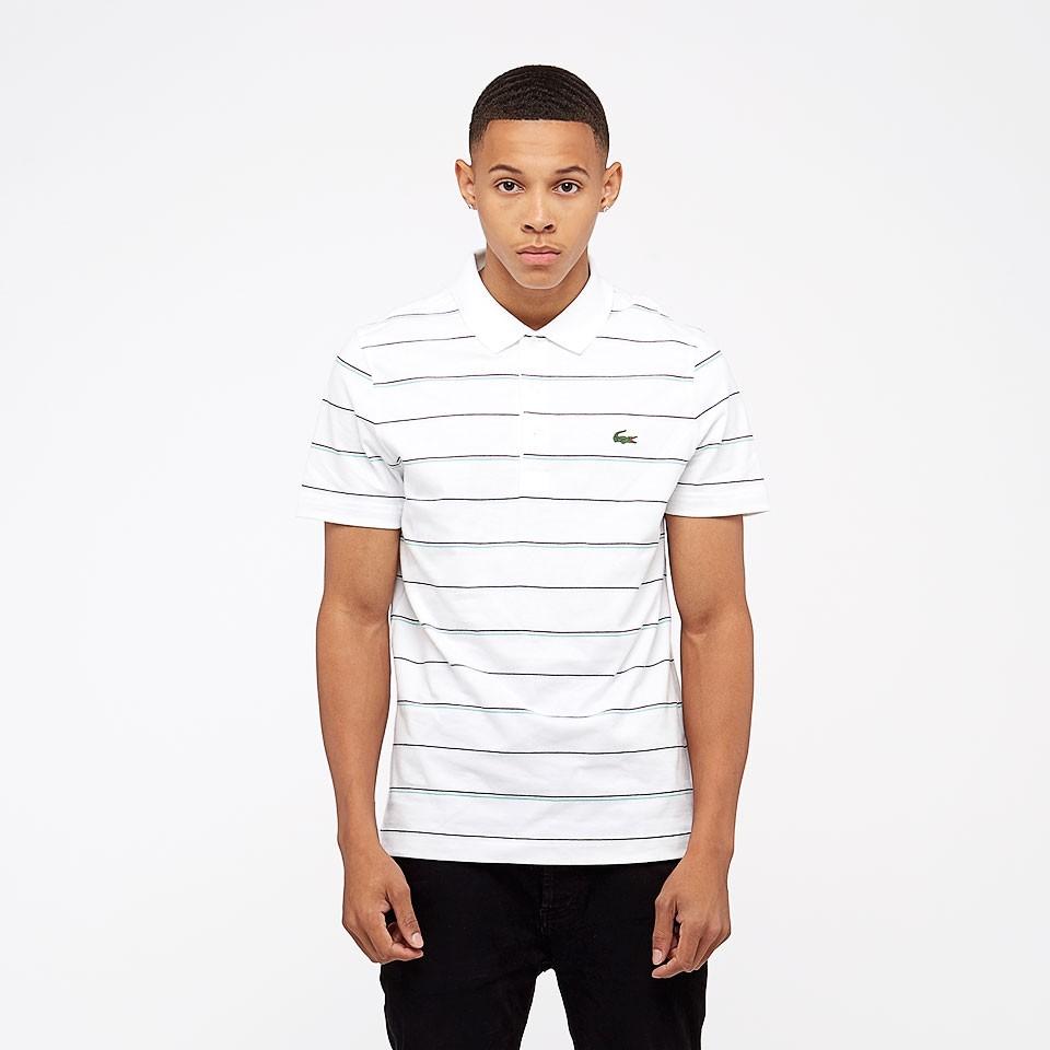 Camisa Polo Lacoste Dh9471 Branca com listras