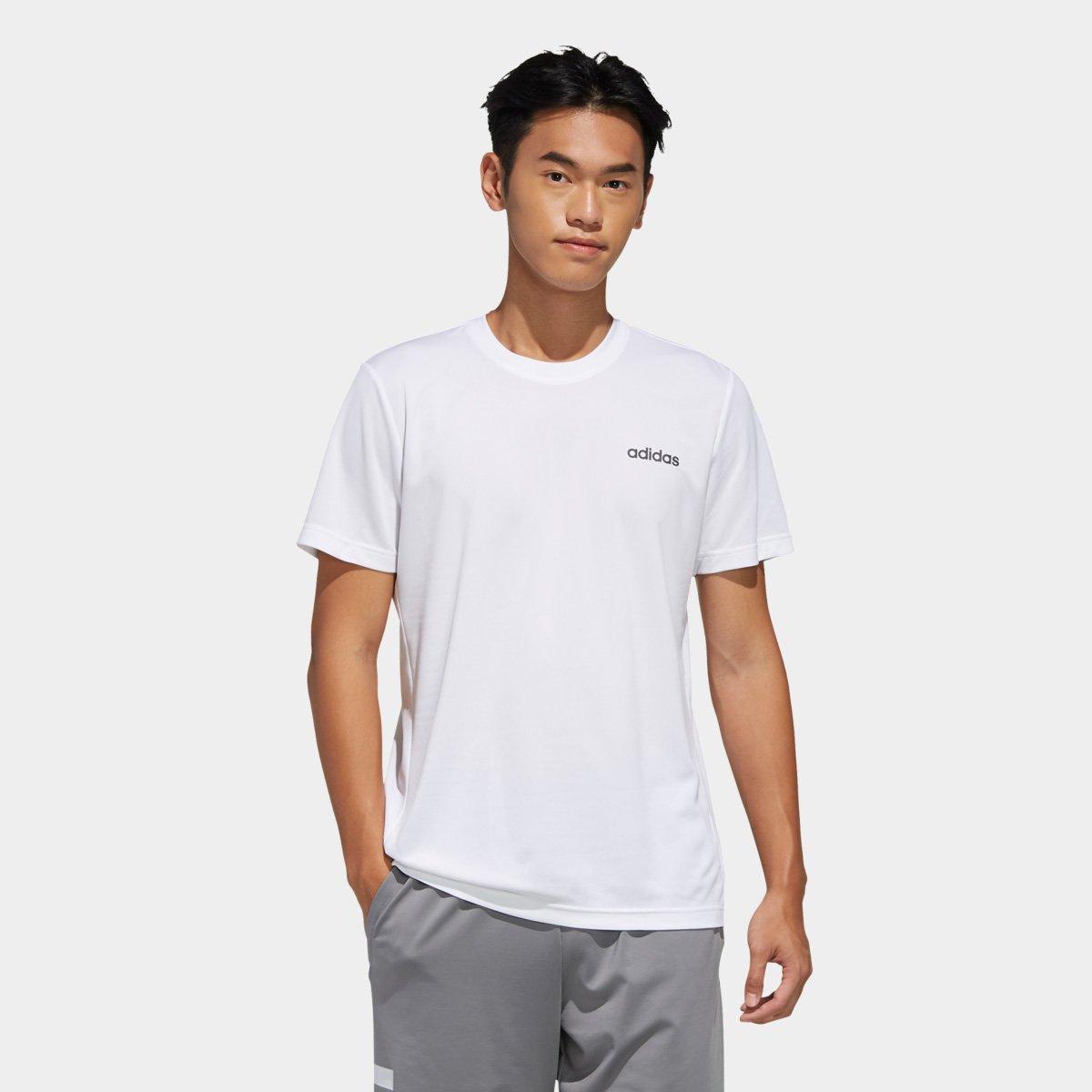 Camiseta Adidas Masculina D2m Plain Branca c/ Logo Preta