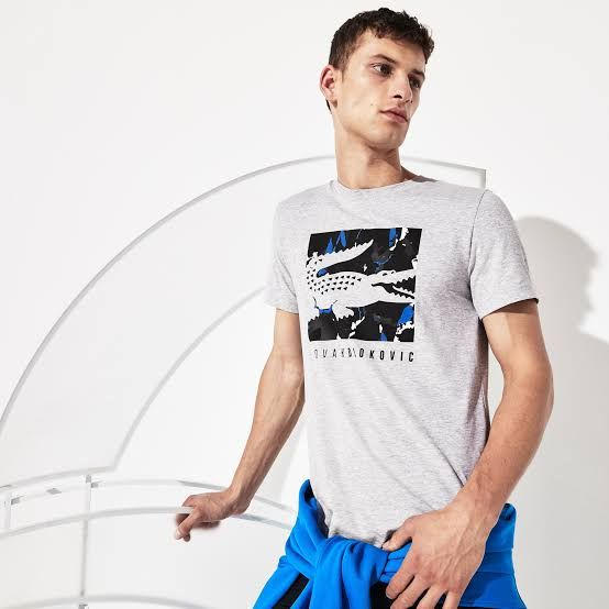 Camiseta Lacoste Novak Djokovic Camo TH7971 Cinza e Marinho