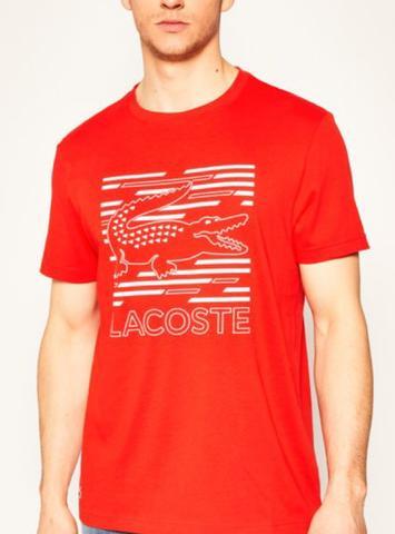 Camiseta Masculina Lacoste TH483421 Laranja Estampada
