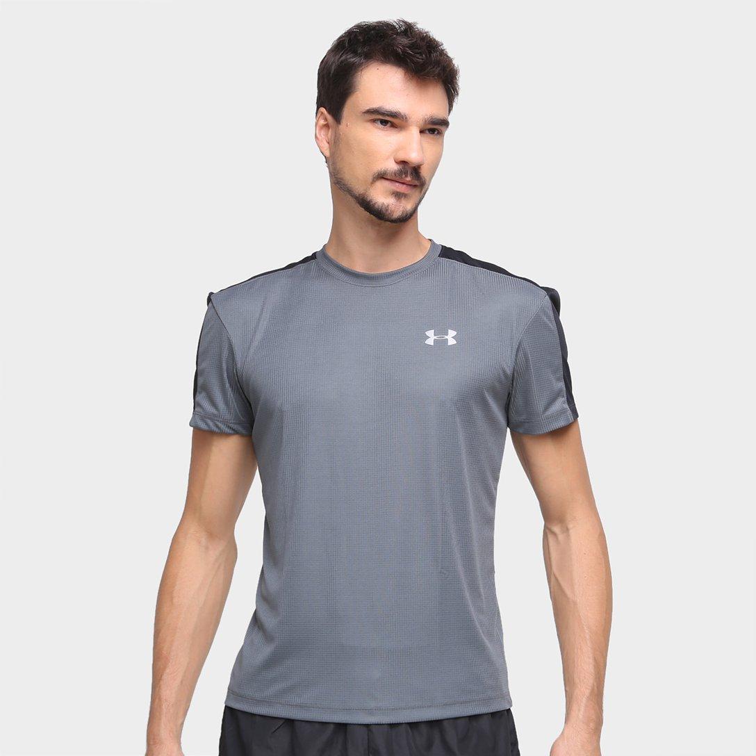 Camiseta Masculina Under Armour Speed Stride Cinza e Preto