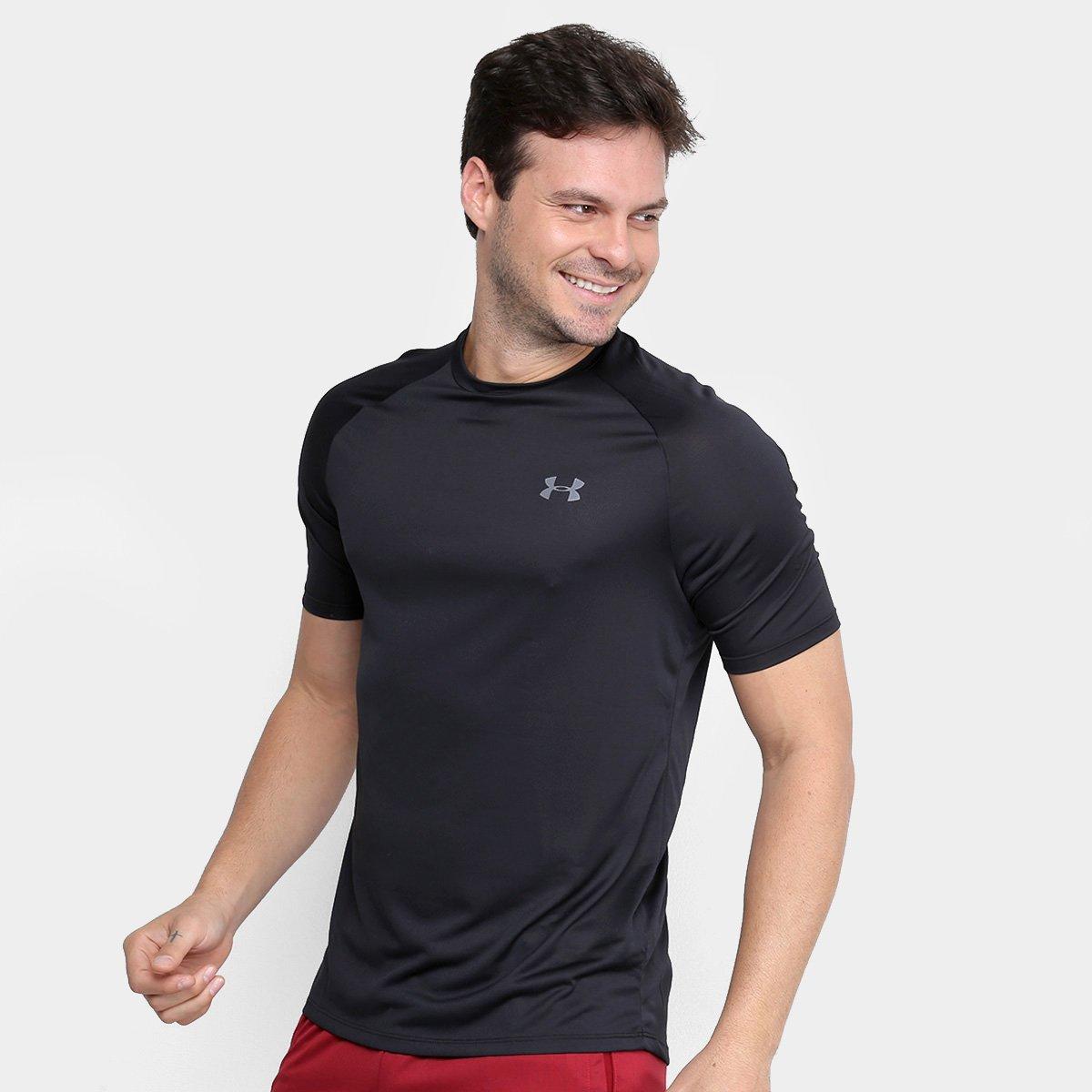 Camiseta Masculina Under Armour Tech 2.0 Preto e Cinza