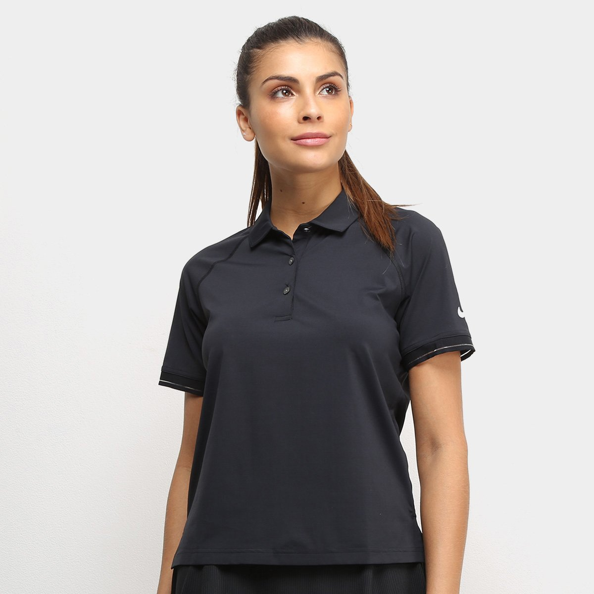 Camiseta Nike Feminina Polo Dry-Fit Court Essential Preta