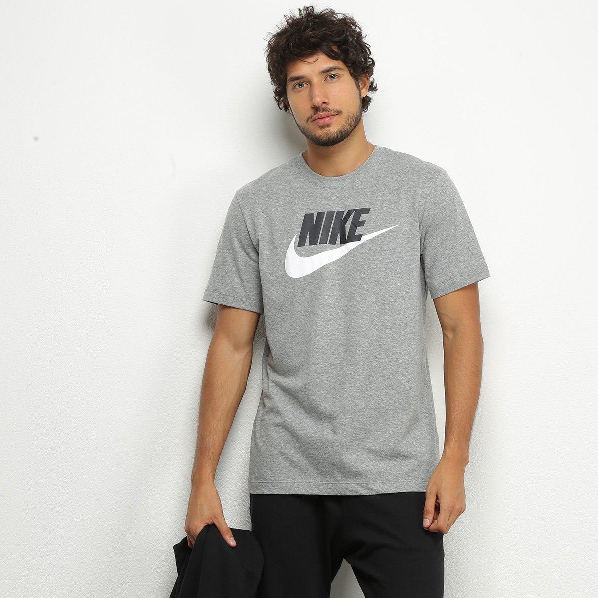 Camiseta Nike Masculina Sportwear Icon Futura Cinza e Preta