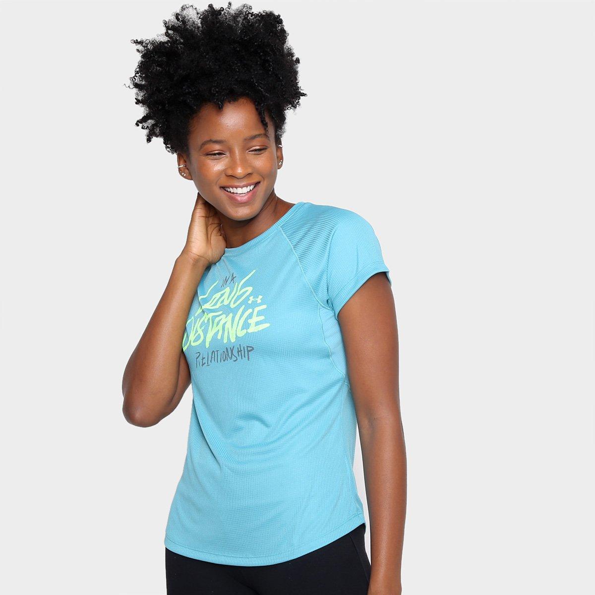 Camiseta Under Armour Feminina Strid Azul e Verde
