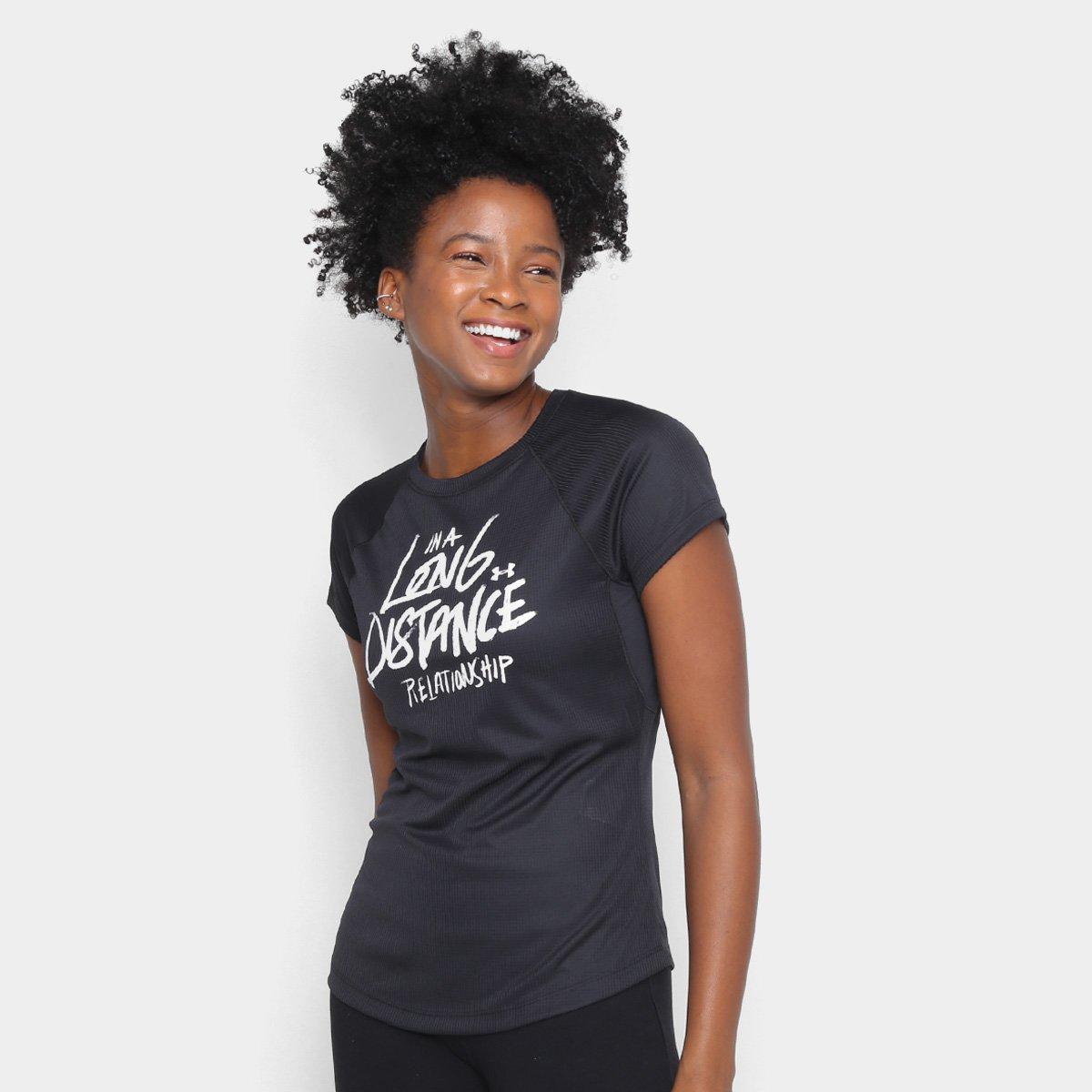 Camiseta Under Armour Feminina Strid Preto e Prata